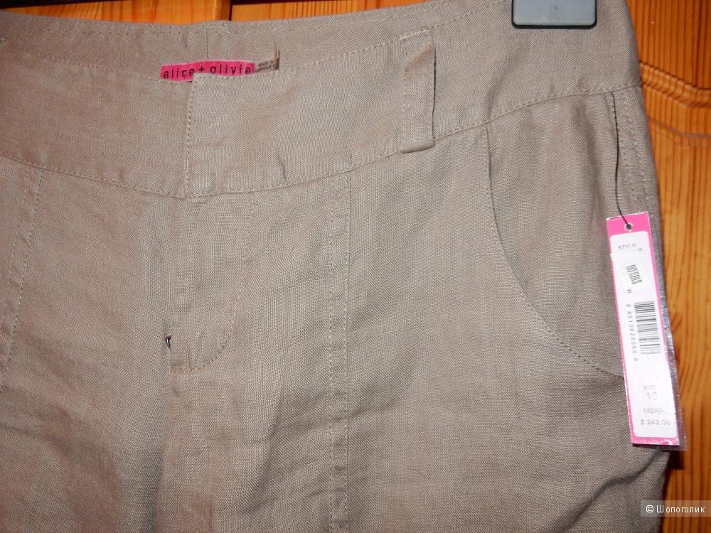 Новые льняные карго-брюки Alice+Olivia, размер US10