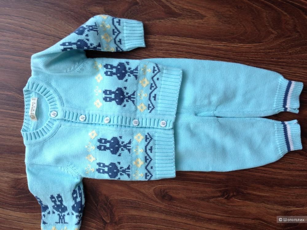 детский теплый костюмчик цвета бирюзы Новый