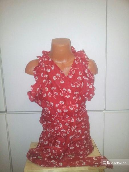 Women's Red Ruffled Wrap Top