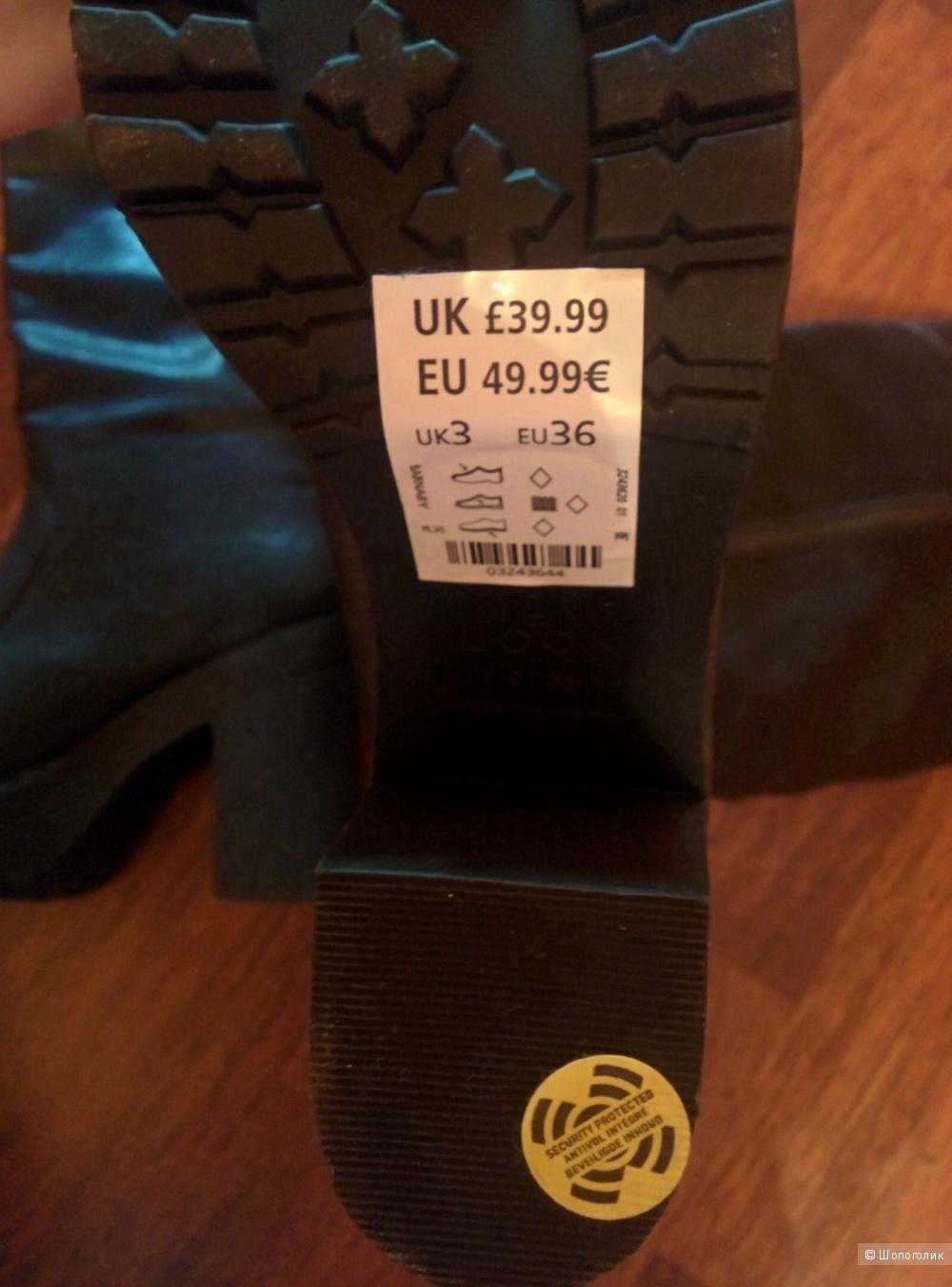 Ботинки с массивной подошвой New Look Barnaby черного цвета / EU36 UK 3 по меркам Asos