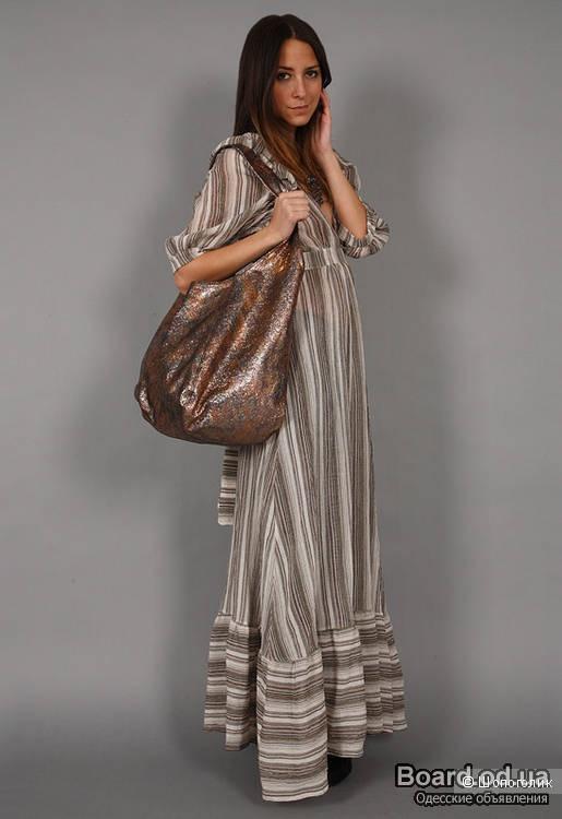 HALSTON HERITAGE большая сумка-мешок из перламутровой кожи Новая Оригинал