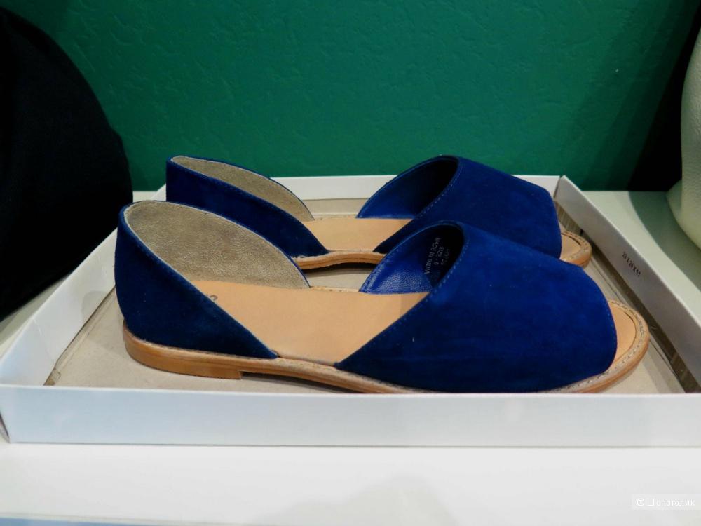 Замшевые сандалии глубокого синего цвета