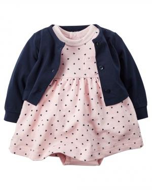 Carter's комплект платье + кофта на 9 и 12 мес 100% хлопок