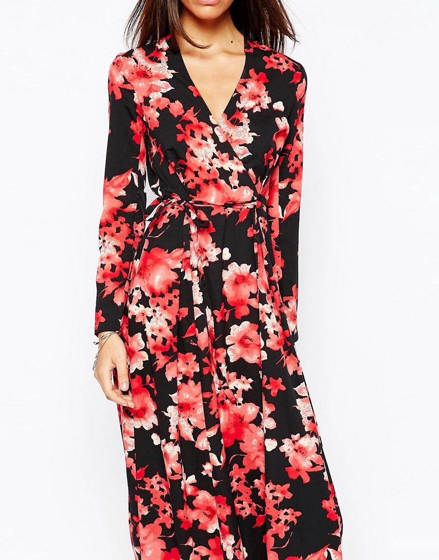 Платье макси с запахом и восточным цветочным принтом Fallen Star