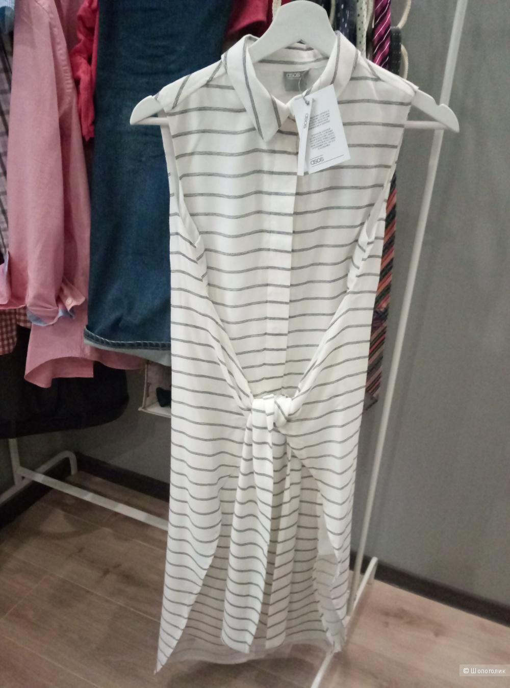 Летнее платье-рубашка необычного кроя UK8 (42)