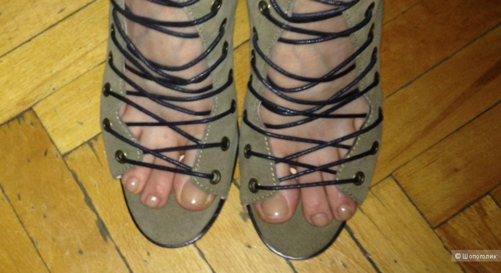 Новые стильные летние сапоги ботфорты Isabel Marant из натуральной замши на шнуровке, молния, 37- 38 разм