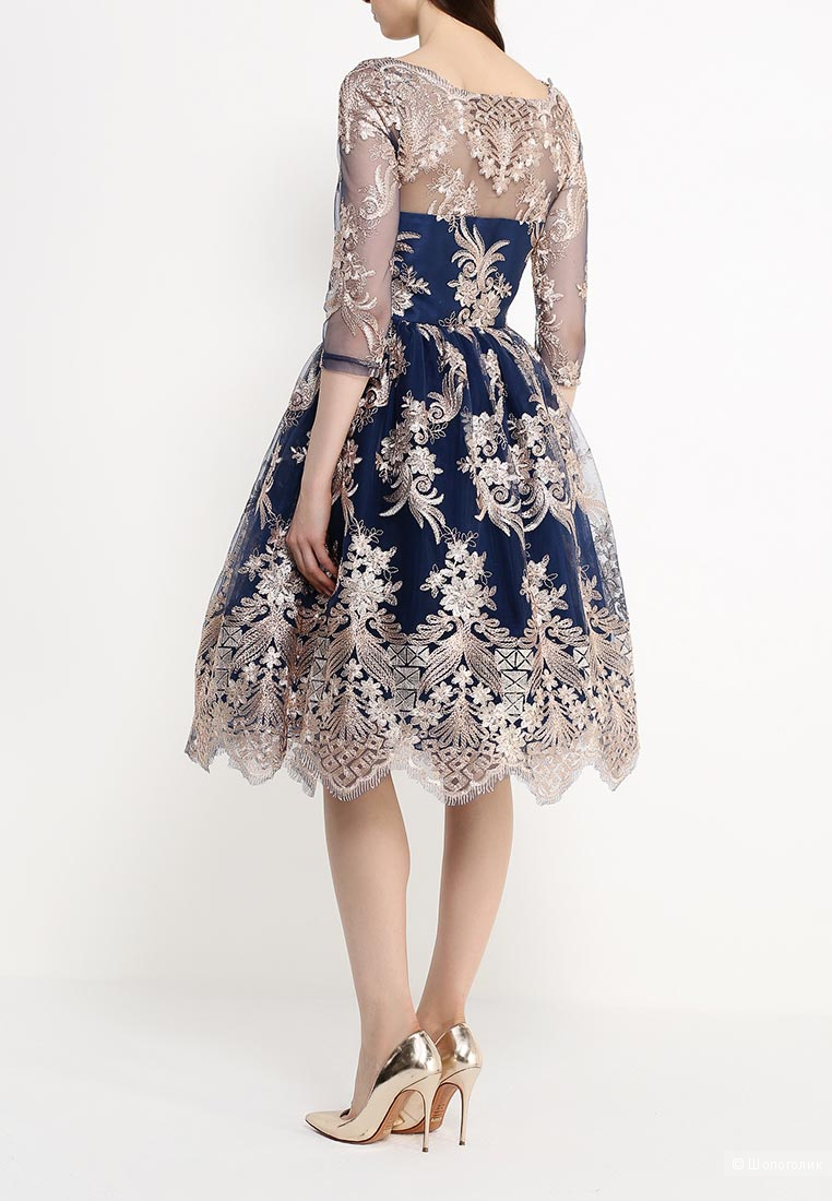 Платье с золотой вышивкой Chi Chi London