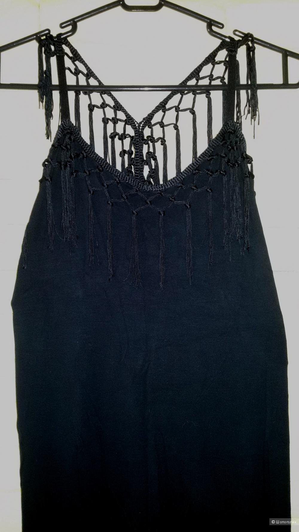 Платье - сарафан длинное черное  River Island