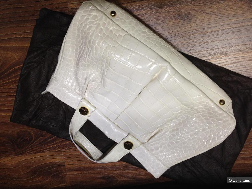 Coccinelle шикарная кремовая итальянская сумка с тиснением под крокодила Новая Оригинал