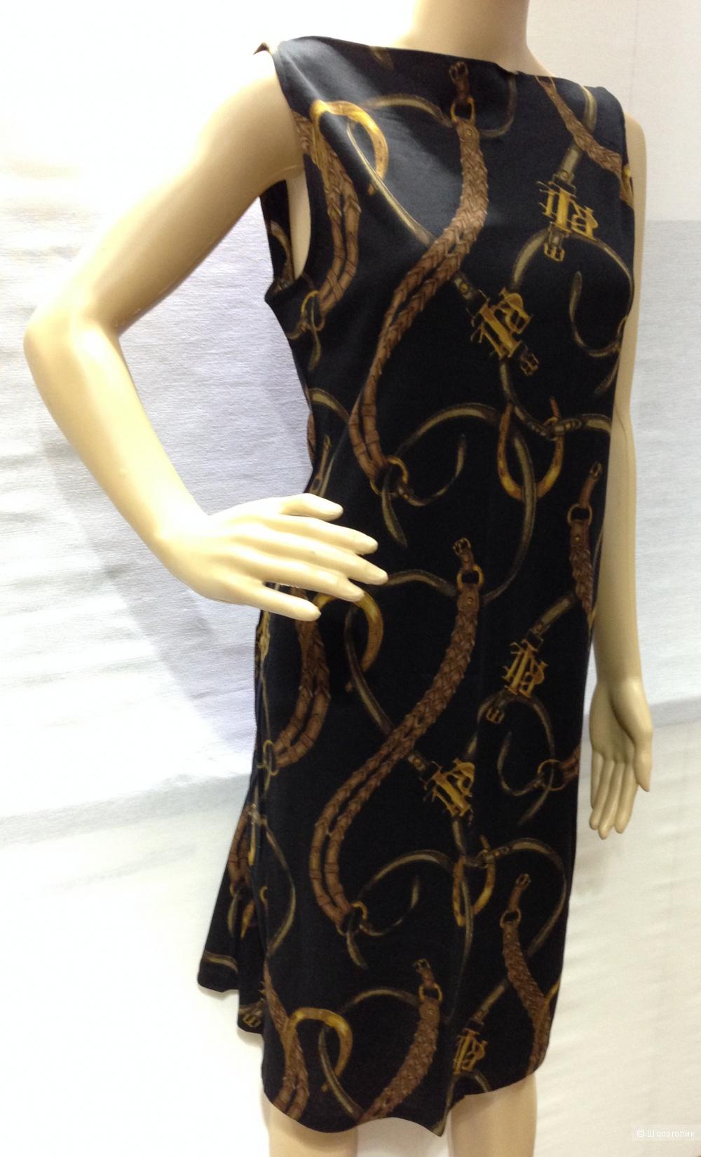 Ralph Lauren шикарное трикотажное платье с фирменным принтом цепями р.48 Новое.Оригинал