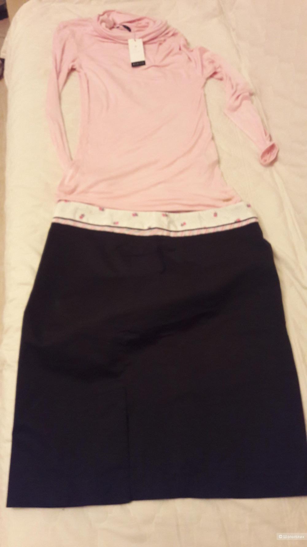 Черно-розовый сет...романтичная юбка и водолазка с драпировкой