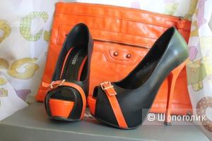 Яркие туфли 36 р-ра +клатч