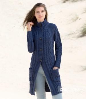 Новое 100% шерстяное вязаное пальто (Великобритания) на 44-46р-р глубокого синего цвета с косами