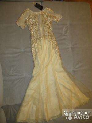 Новое вечернее платье Basix Black Label. (США). выполнено из 100% шелка, расшито бисером и пайетками. пышная многослойная юбка, расклешенная от бедра