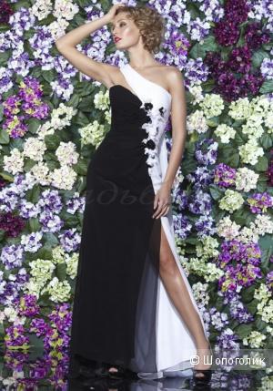 Вечернее платье 46 размера  черно-белое.