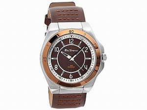Брендовые часы мужские BEN SHERMAN WATCH ROUND BRONZE DIAL BROWN FAUX LEATHER STRAP R928