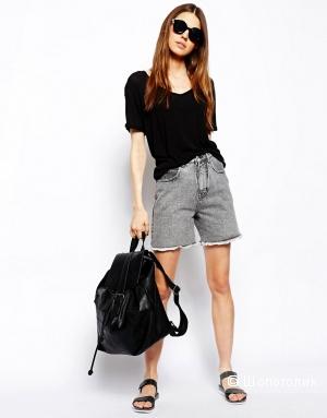 Джинсовые шорты asos с высокой талией ASOS Denim Castaway Shorts in Grey UK4