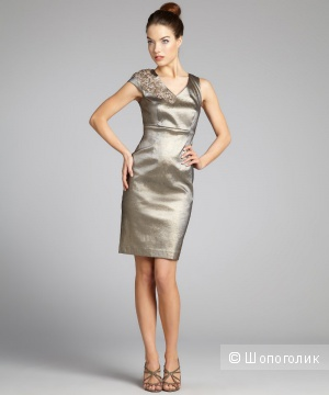 Kay Unger шикарное платье с мерцанием и  бисером на плече для офиса р.44 Новое.Оригинал