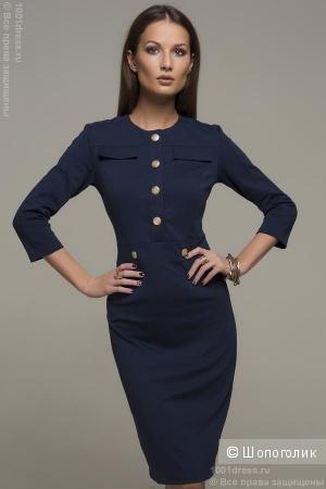 Платье темно-синее с крупными пуговицами в ряд XS 1001dress