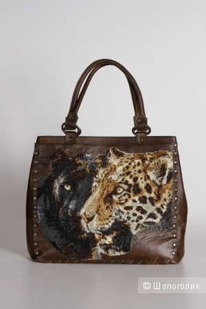 """Дизайнерская сумка """"Леопарды"""", натуральная кожа"""