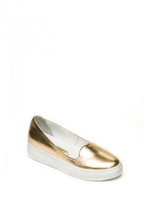 Женские балетки из натуральной кожи цвета золото размер 40
