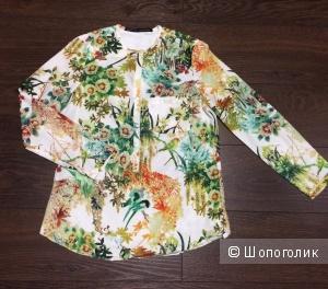 Блузка/рубашка белая-травянисто-цветочной расцветки, размер M