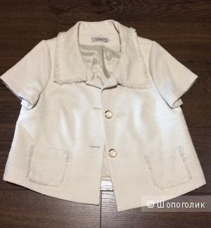 Нарядный жакет пиджак с короткими рукавами, жемчужный цвет, 46 размер