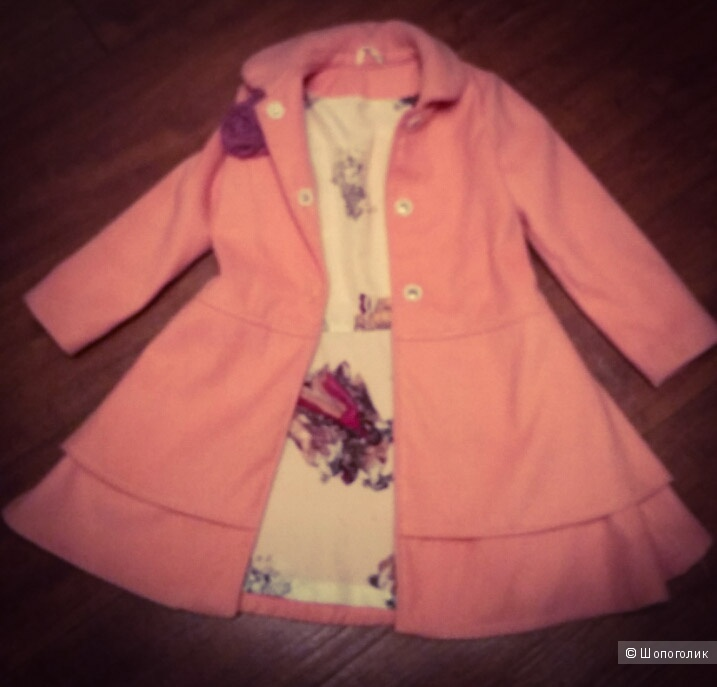 Великолепное персиковое пальто для маленькой леди. На 6-7 лет.