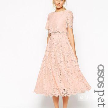 Кружевное платье миди нюд ASOS PETITE SALON