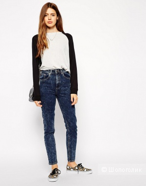 Синие мраморные джинсы ASOS Farleigh High Waist Slim Mom Jeans in Indigo Snow Acid Wash W24 L32