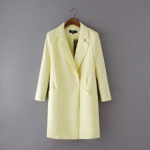 Пиджак миди бледно-лимонного цвета 42-44 S