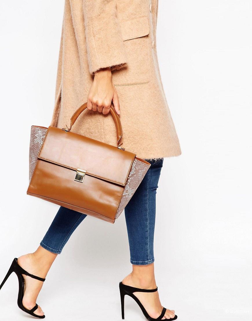 Пристрою новую кожаную сумку-сатчел asos в стиле колорблок