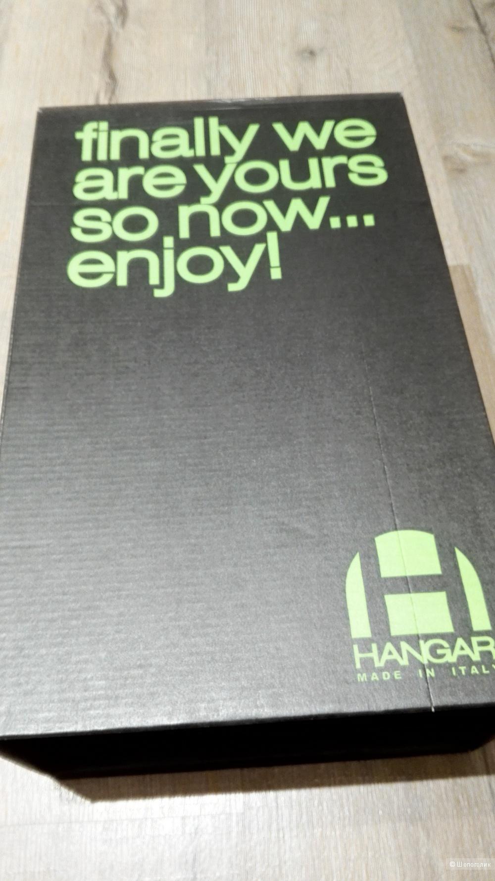 """Мужские демисезонные ботинки на шнуровке дымчато-серого цвета  из телячьей кожи.Марка """"HANGAR""""(Made in Italy)"""