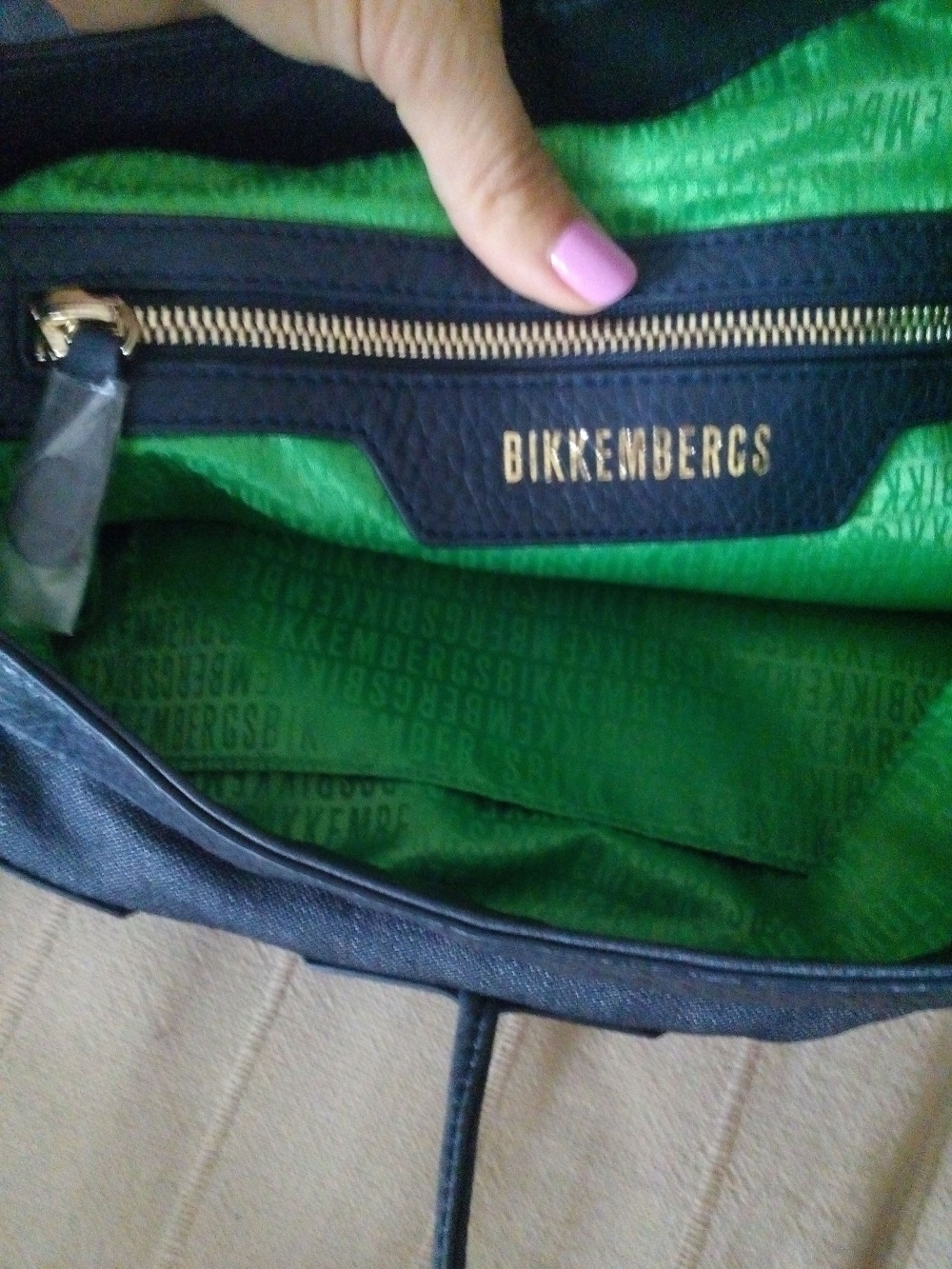 Сумка bikkembergs, цвет синий, кожа+текстиль