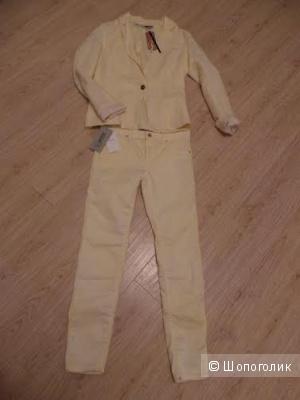 Лимонный дуэт:льняной пиджак и джинсы в подарок