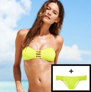 Купальник Victoria's Secret, Strappy Bandeau M+The Knockout Bikini M, желтый (Neon Lemon) 8P9