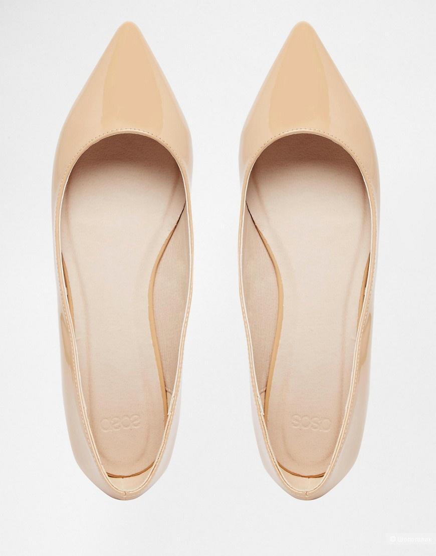 3faf48ec402c Бежевые лакированные балетки с заостренным носком Asos, в магазине ...