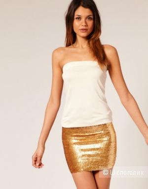 Платье-бандо с пайетками на юбке ASOS PETITE UK4