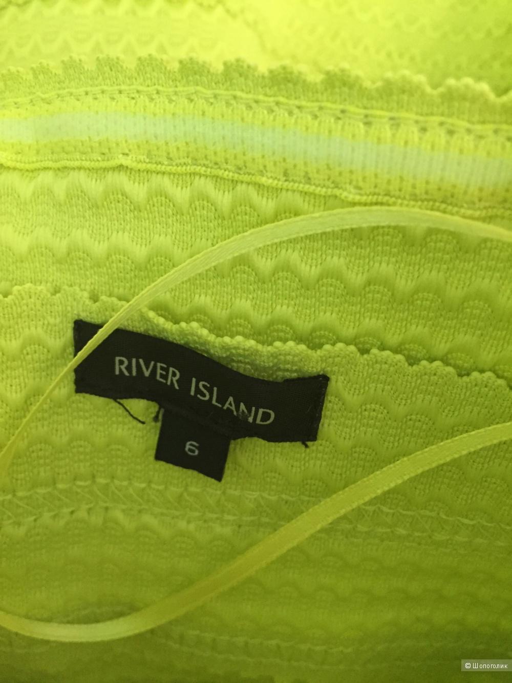 Lime rib box pleat prom dress River Island UK6