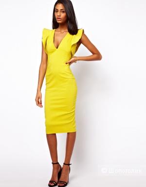 Платье-футляр с рукавами-рюшами ASOS PETITE UK4 жёлтое