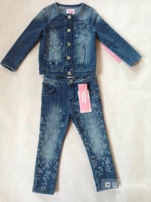 Детский джинсовый костюм джинсы и жакет с узорами 1.5-2 годика