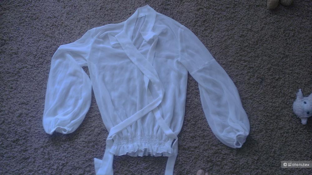 Белая блузка из шифона 40 размер