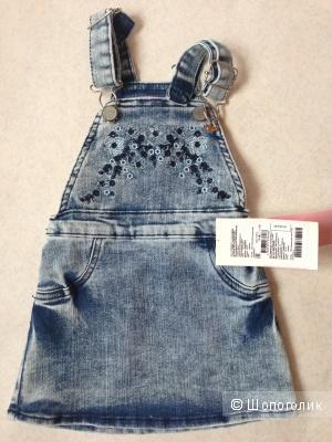 Детский джинсовый сарафан с вышитыми узорами 1.5-2 годика