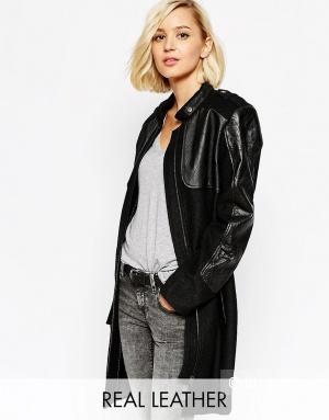 Пальто с кожаными вставками Selected