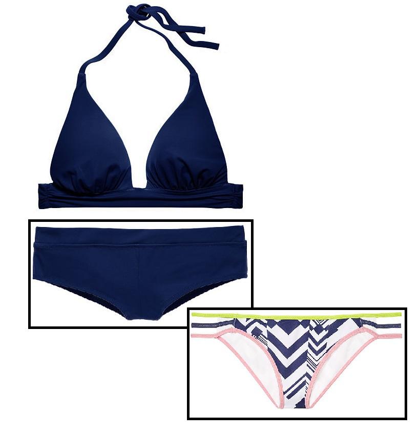 Купальник Victoria's Secret Plunge Halter S + Cheeky Short S + Strappy Cheeky S, цвет Ink Blot