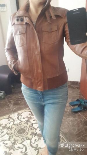 Кожаная натуральная куртка коричневого цвета Street One 44–46 (M)