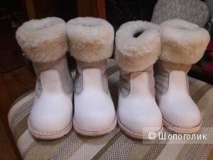 Зимние кожаные сапожки на девочку размер 23, 24