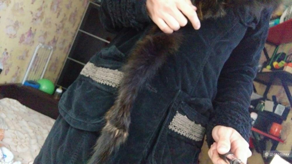 Пальто с мехом лисы Дизайнера ermanno daelli Новое