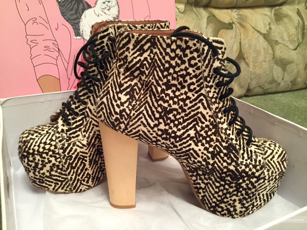 Ботинки Jeffrey Campbell Fur Animal Print Lita  размер US 7