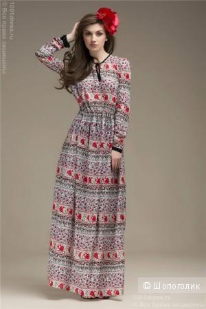 Платье серое с цветочным принтом длины макси,размер: XL.
